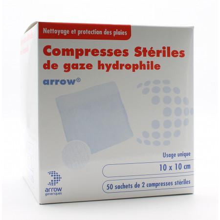 Arrow Compresses Stériles de Gaze Hydrophile 10X10cm 50 sachets - Univers Pharmacie