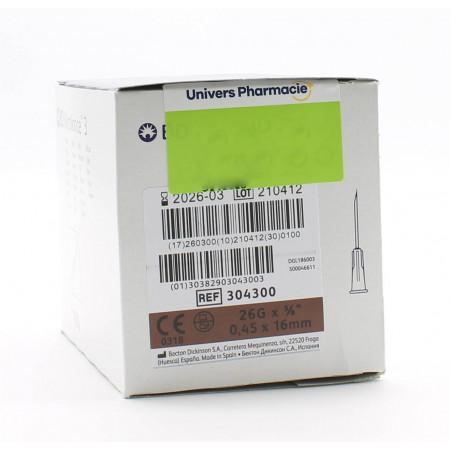BD Microlance Aiguilles Hypodermiques 26G (0.45X16mm) X100 - Univers Pharmacie
