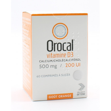 Orocal Vitamine D3 500mg / 200 UI 60 comprimés - Univers Pharmacie