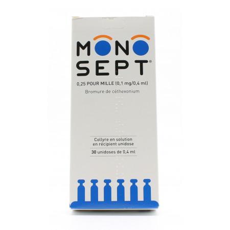 Monosept 0,25 pour mille 30X0,4ml - Univers Pharmacie