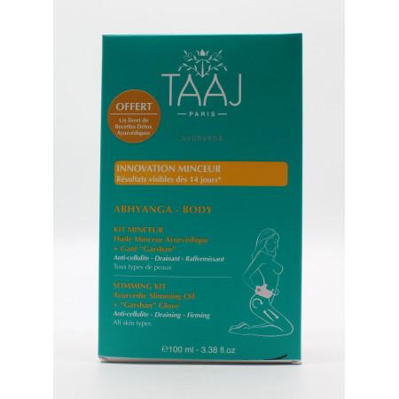 "TAAJ Abhyanga Kit Huile Minceur + Minceur Gant ""Garshan"" - Univers Pharmacie"
