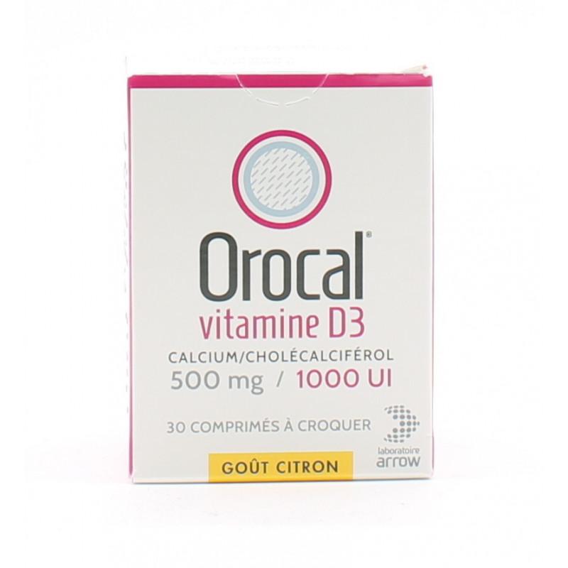 Orocal Vitamine D3 500mg/1000UI 30 comprimés - Univers Pharmacie