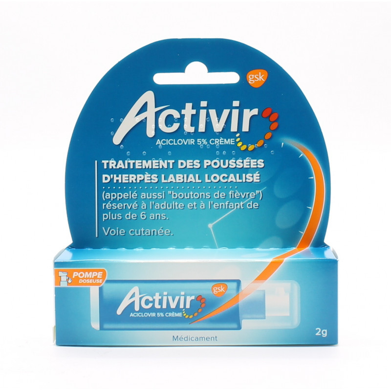 ACTIVIR ACICLOVIR 5% CREME HERPES LABIAL POMPE DOSEUSE 2g