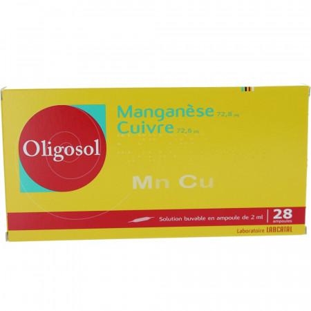 Oligosol Manganèse Cuivre boite 28 ampoules