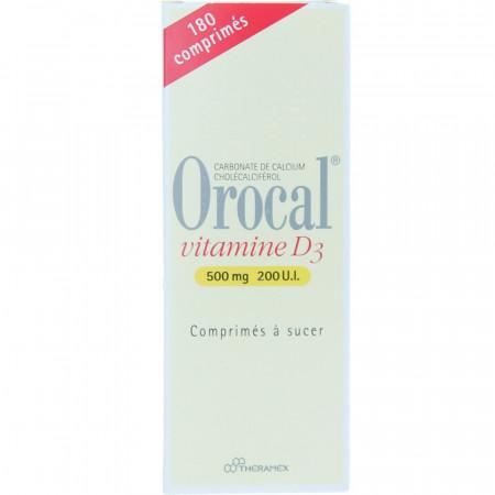 Orocal vitamine D3 500mg 200 U.I. boite de 180 comprimés