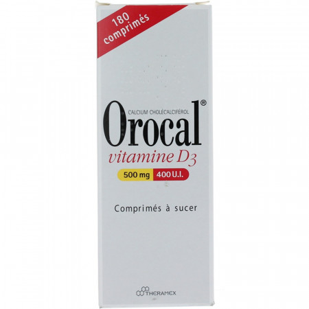 Orocal Vitamine D3 500 mg/400 UI 180 comprimés