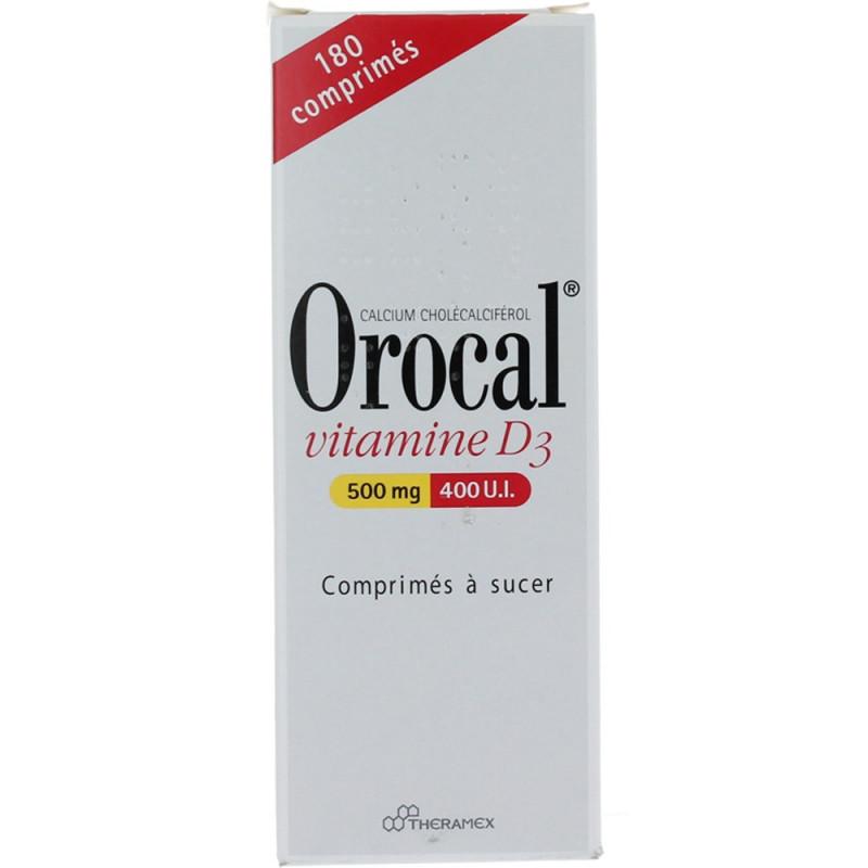 Orocal Vitamine D3 500 mg/400 UI 180 comprimés