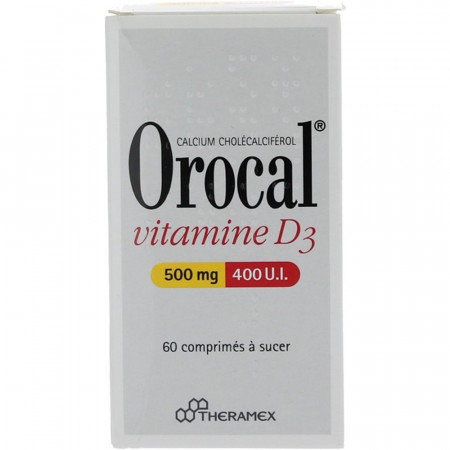 Orocal Vitamine D3 500 mg/400 UI 60 comprimés