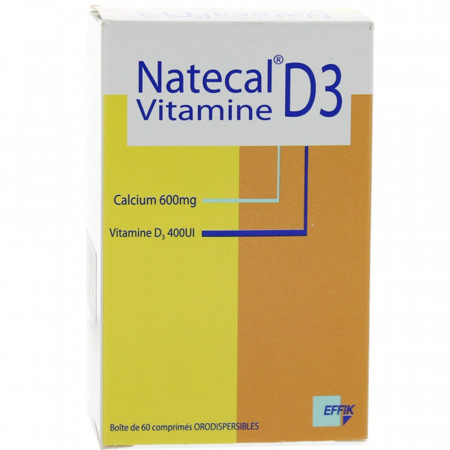 Natecal Vitamine D3 600 mg/400 UI 60 comprimés