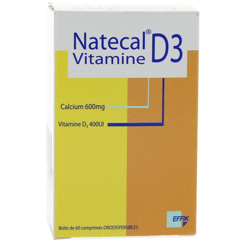 Natecal Vitamine D3 600 mg/400 UI 60 comprimés