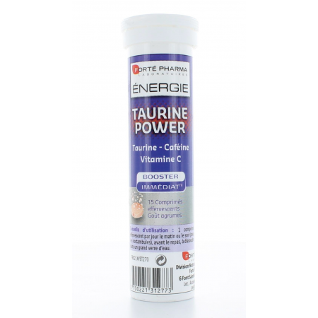 FORTE PHARMA ENERGIE TAURINE POWER BOOSTER IMMEDIAT - 15 COMPRIMES EFFEVESCENTS - GOUT AGRUMES