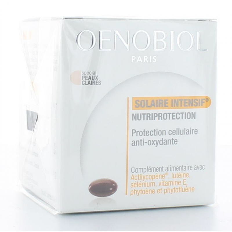 Oenobiol Solaire Intensif Nutriprotection Peau Claire 30 capsules