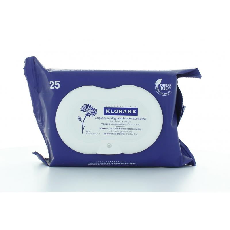 Klorane Lingettes Biodégradables Démaquillantes X25