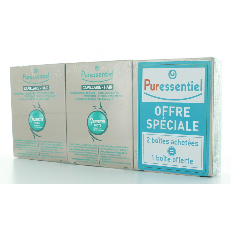 PURESSENTIEL CAPILLAIRE COMPLEMENT ALIMENTAIRE FORTIFIANT CHEVEUX & ONGLES 3 x 30 CAPSULES