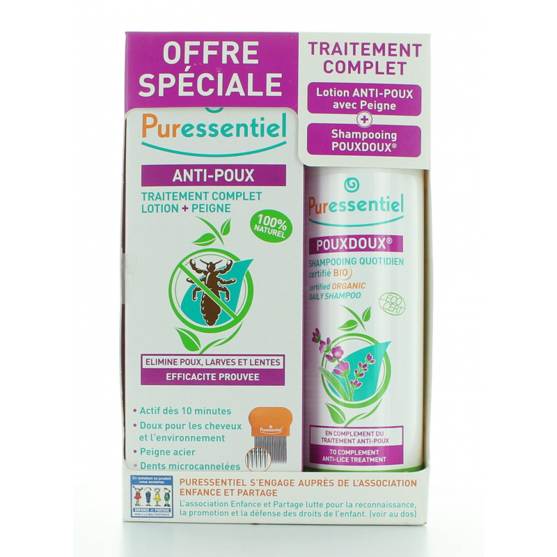 PURESSENTIEL OFFRE SPECIAL TRAITEMENT COMPLET ANTI-POUX LOTION 100 ml + SHAMPOOING 200 ml