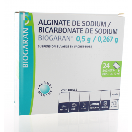 Alginate de Sodium / Bicarbonate de Sodium Biogaran 0.5 g/0.267 g