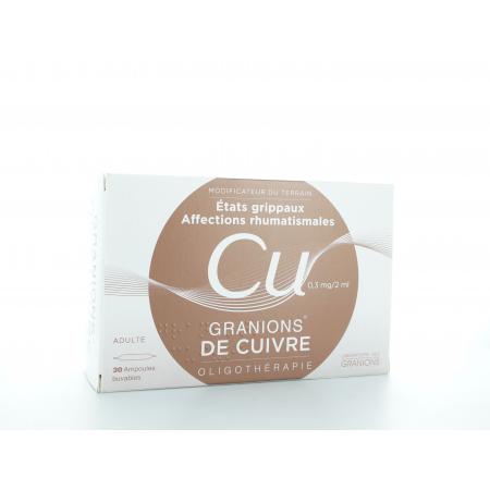 Granions de Cuivre 0,3 mg/2 ml 30 Ampoules