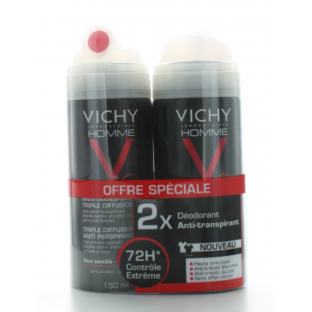 Vichy Homme Déodorant Spray Anti-Transpirant 72H 2X150 ml