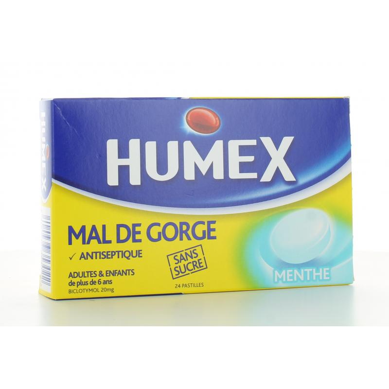 Humex Mal de Gorge Menthe sans sucre 24 pastilles