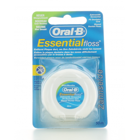 Fil Dentaire Ciré Essential Floss Oral-B 50 m
