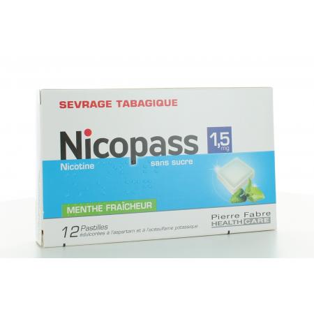 Nicopass 1.5 mg Menthe Fraîcheur sans sucre 12 pastilles