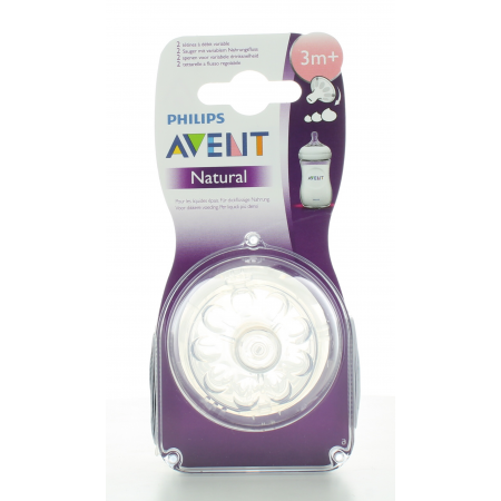 Tétine Philips Avent Natural à débit variable 3M+ X2