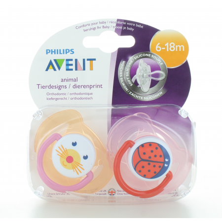 Sucette Animal Philips Avent 6-18 mois X2