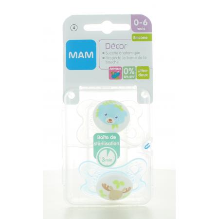 Sucette Décor Animaux Silicone 0-6 mois Mam X2