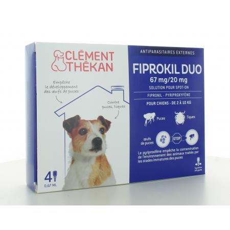 Fiprokil Duo Chien 2-10 kg 67mg/20mg 4 pipettes