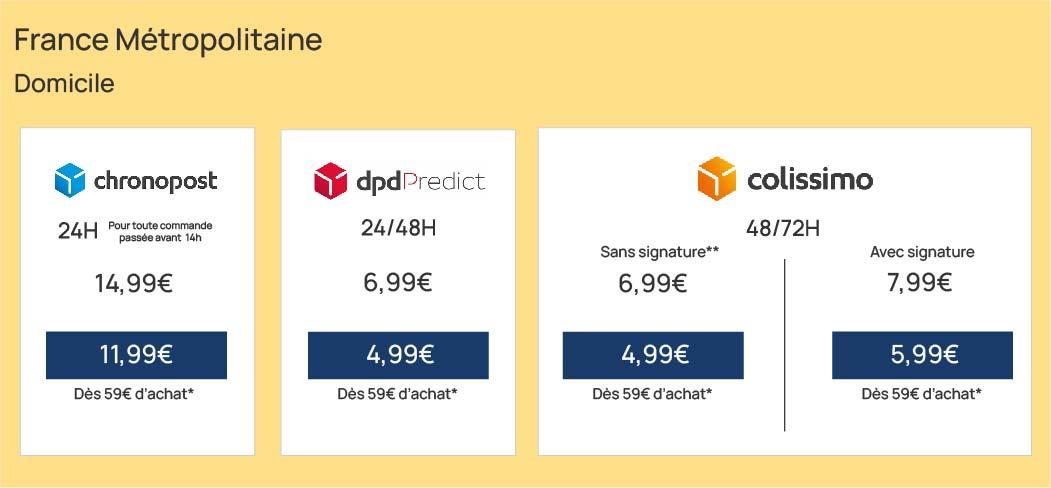 tarifs de livraison à domicile en France